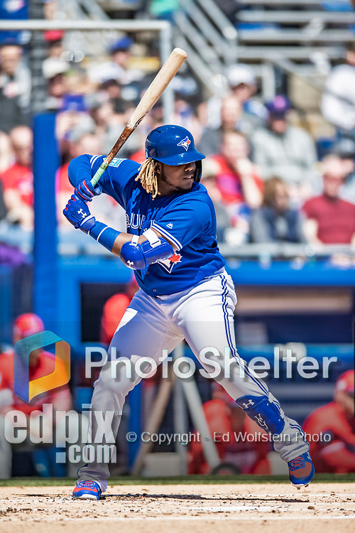 6 March 2019: Toronto Blue Jays top prospect infielder Vladimir Guerrero Jr. in action during a Spring Training game against the Philadelphia Phillies at Dunedin Stadium in Dunedin, Florida. The Blue Jays defeated the Phillies 9-7 in Grapefruit League play. Mandatory Credit: Ed Wolfstein Photo *** RAW (NEF) Image File Available ***