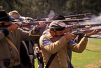 AJ3384, Confederate soldiers, Confederate, Civil War Reenactment, Stone Mountain, Atlanta, Georgia's Stone Mountain Park, Georgia, Men dressed as Confederate Soldiers fire muskets (rifles) during a Civil War Reenactment at the Antebellum Jubilee at Stone Mountain Park in Atlanta in the state of Georgia.