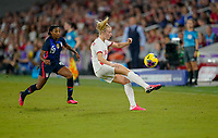 ORLANDO, FL - MARCH 05: Leah Williamson #14 of England traps a ball during a game between England and USWNT at Exploria Stadium on March 05, 2020 in Orlando, Florida.