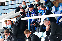 1st May 2021; Weston Homes Stadium, Peterborough, Cambridgeshire, England; English Football League One Football, Peterborough United versus Lincoln City; Peterborough United Director of Football Barry Fry (centre, wearing cap) watches from the stand