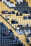 Notts County 150th Anniversary, 18/11/2012. Meadow Lane. Spectators pictured in the Derek Pavis stand at Meadow Lane, home of Notts County FC during a special Legends Day match marking the club's 150th anniversary. The day-long event featured autograph signing by past and present players, a game between two teams of former players and a screening of a film entitled 'Notts County - the Movie' on a giant inflatable screen. The club were founder members of the Football League in England and call themselves 'the world's oldest Football League club'. Photo by Colin McPherson.