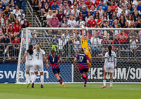 EAST HARTFORD, CT - JULY 5: Alyssa Naeher #1 of the USWNT saves the ball during a game between Mexico and USWNT at Rentschler Field on July 5, 2021 in East Hartford, Connecticut.