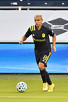 KANSAS CITY, KS - OCTOBER 11: Randall Leal #8 of Nashville SC with the ball during a game between Nashville SC and Sporting Kansas City at Children's Mercy Park on October 11, 2020 in Kansas City, Kansas.