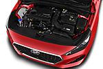 Car stock 2018 Hyundai i30 Fastback Shine 5 Door Hatchback engine high angle detail view