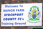 Stockport Pre-Season Training, 09/07/2008. Manor Farm, Timperley, League One. The sign at Stockport County's training ground at Manor Farm, Timperley, Cheshire. Stockport County were promoted up to league One following a play-off final victory over Rochdale at Wembley in May, 2008. Jim Gannon took over as manager of the club in 2006 and lead them to promotion after three seasons in League Two. Photo by Colin McPherson.