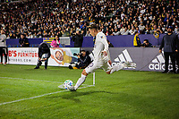 CARSON, CA - MARCH 07: Cristian Pavon #10 of the Los Angeles Galaxy takes a cornerkick during a game between Vancouver Whitecaps and Los Angeles Galaxy at Dignity Health Sports Park on March 07, 2020 in Carson, California.