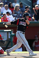 Casey McElroy #10 of the Lake Elsinore Storm bats against the Inland Empire 66'ers at San Manuel Stadium on July 15, 2012 in San Bernardino, California. Inland Empire defeated Lake Elsinore 4-3. (Larry Goren/Four Seam Images)