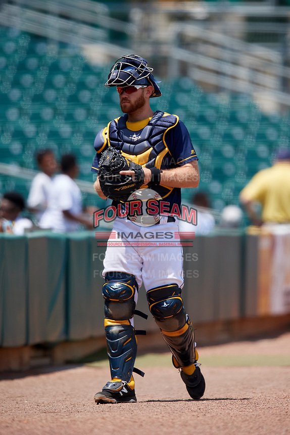 Montgomery Biscuits catcher Mac James (8) during a game against the Biloxi Shuckers on May 8, 2018 at Montgomery Riverwalk Stadium in Montgomery, Alabama.  Montgomery defeated Biloxi 10-5.  (Mike Janes/Four Seam Images)