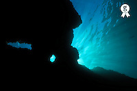 Sunbeams and holes in underwater cave (Licence this image exclusively with Getty: http://www.gettyimages.com/detail/sb10067234d-001 )