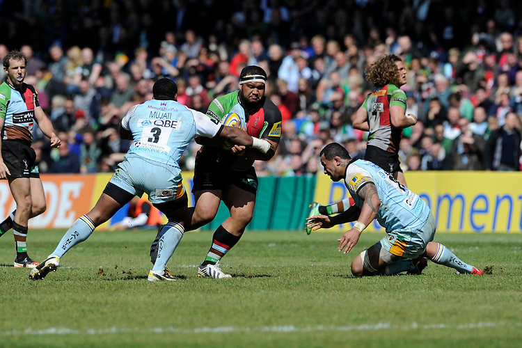 James Johnston of Harlequins looks to go between Brian Mujati (left) and Samu Manoa of Northampton Saints during the Aviva Premiership match between Harlequins and Northampton Saints at the Twickenham Stoop on Saturday 4th May 2013 (Photo by Rob Munro)