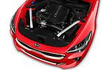 Car stock 2019 KIA Stinger GT 5 Door Hatchback engine high angle detail view