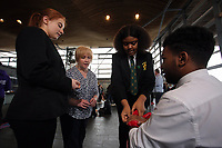 L-R Lauren Thomas from the Cardiff Youth Council, Suzy Davies AM, Sherry Gakumga and Rafael Fernandez both from the Cardiff Youth Council