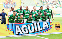 CALI -COLOMBIA-03-10-2015. Jugadores del Deportivo Cali posan para una foto previo al encuentro contra de Independiente Medellín por la fecha 15 de la Liga Águila II 2015 jugado en el estadio Palmaseca de la ciudad de Palmira./ Players of Deportivo Cali pose to a photo prior the match against Independiente Medellin for the date 15 of the Aguila League II 2015 played at Palmaseca stadium in Palmira city. Photo: VizzorImage/ NR