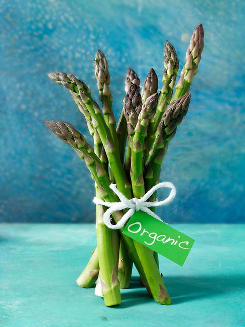 bunch of fresh organic asparagus spears.