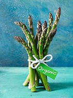bunch of fresh organic asparagus spears.