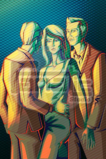 Illustrative image of businessmen harassing businesswoman representing woman harassment