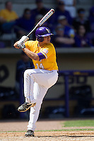 LSU Tigers third baseman Christian Ibarra #14 at bat against the Auburn Tigers in the NCAA baseball game on March 24, 2013 at Alex Box Stadium in Baton Rouge, Louisiana. LSU defeated Auburn 5-1. (Andrew Woolley/Four Seam Images).