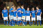 St Johnstone v FC Minsk...08.08.13 Europa League Qualifier<br /> Dave Mackay is console by Rory Fallon and Steven MacLean after mssing his penalty<br /> Picture by Graeme Hart.<br /> Copyright Perthshire Picture Agency<br /> Tel: 01738 623350  Mobile: 07990 594431