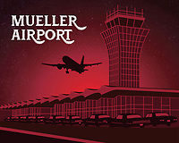 This fine art print celebrates Austin's iconic Mueller Airport. Although the airport was decommissioned in 1999, the tower stands today as a testament to the former famed airport. The ambitious effort to redevelop Robert Mueller Municipal Airport into a mixed-use urban village in the heart of the city has helped spur Austin's new real estate boom and rapid growth as a global city.<br /> <br /> Robert Mueller Municipal Airport was the first civilian airport built in downtown Austin, Texas, operating from 1930 to 1999. It was replaced as Greater Austin's main airport by the Austin–Bergstrom International Airport.