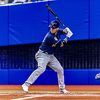 25 March 2019: Milwaukee Brewers catcher Yasmani Grandal at bat during an exhibition game against the Toronto Blue Jays at Olympic Stadium in Montreal, Quebec, Canada. The Brewers defeated the Blue Jays 10-5 in the first of two MLB pre-season games in the former home of the Montreal Expos. Mandatory Credit: Ed Wolfstein Photo *** RAW (NEF) Image File Available ***