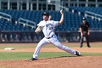 Peoria Javelinas relief pitcher Daniel Brown (49), of the Milwaukee Brewers organization, delivers a pitch during an Arizona Fall League game against the Scottsdale Scorpions at Peoria Sports Complex on October 18, 2018 in Peoria, Arizona. Scottsdale defeated Peoria 8-0. (Zachary Lucy/Four Seam Images)
