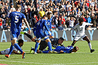 Neil Etheridge of Cardiff City fights for the ball against Nathan Dyer of Swansea City (R) during the Sky Bet Championship match between Swansea City and Cardiff City at the Liberty Stadium, Swansea, Wales, UK. Sunday 27 October 2019