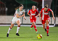 Estee Cattoor (11 OHL) and Charlotte Cranshoff (18 Standard) in action during a female soccer game between Oud Heverlee Leuven and Standard Femina De Liege on the 10th matchday of the 2020 - 2021 season of Belgian Womens Super League , sunday 20 th of December 2020  in Heverlee , Belgium . PHOTO SPORTPIX.BE   SPP   SEVIL OKTEM