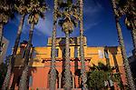 Palm trees with home along boardwalk Santa Monica pier California USA