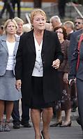La Premiere Ministre du Quebec Pauline Marois et son mari aux<br /> Funérailles civiques de Denis Blanchette le 10 septembre 2012 a l'Èglise Saint-Donat, dans l'arrondissement de Mercier-Hochelaga-Maisonneuve.<br /> Blanchette a ete tue par Richard Bain lors de la soiree des élection le 4 septembre 2012, au Metropolis, en empechant le tireur d'entrer dans la salle durant le discours de la nouvelle Premiere Ministre du Quebec Pauline Marois.<br /> <br /> PHOTOS :  Agence Quebec PresseSeptember 10, 2012 - Montreal (Quebec) CANADA -  new Quebec Premier Pauline Marois and her husband attend the <br /> Funerals of Denis Blanchette, the victim of Richard Bain on the Quebec Election night september 4th at Metropolis. He was shot while trying to stop Bain from entering the building during  Marois speech.<br /> <br /> <br /> FRENCH CAPTION BELOW :  La Premiere Ministre du Quebec Pauline Marois et son mari aux<br /> FunÈrailles civiques de Denis Blanchette le 10 septembre 2012 ‡ l'Èglise Saint-Donat, dans l'arrondissement de Mercier-Hochelaga-Maisonneuve.<br /> Blanchette a ete tue par Richard Bain lors de la soiree des Èlection le 4 septembre au Metropolis, en empechant le tireur d'entrer dans la salle durant le discours de la nouvelle Premiere Ministre du Quebec Pauline Marois.