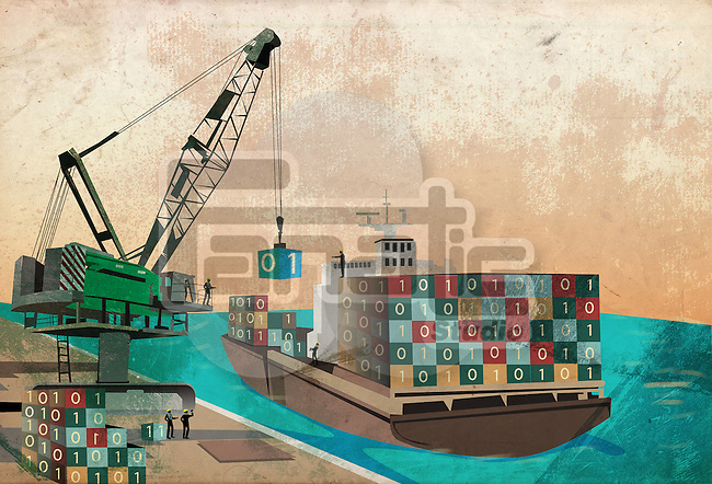 Shipping industry with loading binary code containers on ship representing the concept of software export