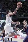 Real Madrid's Sergio Llull (l) and FC Barcelona's Tibor Pleiss during Liga Endesa ACB 2nd Final Match.June 21,2015. (ALTERPHOTOS/Acero)