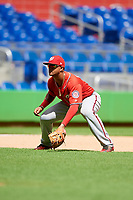 Washington Nationals Anderson Franco (11) during a Florida Instructional League game against the Miami Marlins on September 26, 2018 at the Marlins Park in Miami, Florida.  (Mike Janes/Four Seam Images)
