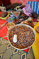 Argan nuts in baskets at the Cooperative Marjana, Ounara, Essouira, Morocco
