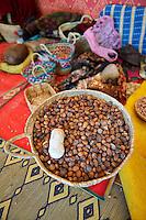 Argan nuts in baskets at the Cooperative Marjana, Ounara, Essouira, Morocco