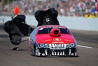 Feb. 18, 2012; Chandler, AZ, USA; NHRA pro stock driver V. Gaines during qualifying for the Arizona Nationals at Firebird International Raceway. Mandatory Credit: Mark J. Rebilas-
