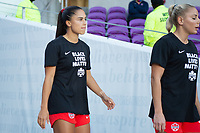ORLANDO, FL - FEBRUARY 21: Jordyn Listro #21 of the CANWNT walks out of the tunnel before a game between Argentina and Canada at Exploria Stadium on February 21, 2021 in Orlando, Florida.