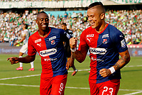 MEDELLIN-COLOMBIA, 29-02-2020: Leonardo Castro de Deportivo Independiente Medellin, celebra con Juan Fernando Caicedo, después de anotar gol de su equipo, durante partido de la fecha 7 entre Atletico Nacional y Deportivo Independiente Medellin, por la Liga BetPLay DIMAYOR I 2020, jugado en el estadio Atanasio Girardot de la ciudad de Medellin. / Leonardo Castro of Deportivo Independiente Medellin, celebrates with Juan Fernando Caicedo after scoring a goal of his team, during a match of the 7th date between Atletico Nacional and Deportivo Independiente Medellin, for the BetPLay DIMAYOR I Leguage 2020 played at the Atanasio Girardot Stadium in Medellin city. / Photo: VizzorImage / Donaldo Zuluaga / Cont.