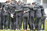 The Ireland team huddle at the Ireland v England One Day Cricket International held at Malahide Cricket Club, Dublin, Ireland. 8th May 2015.<br /> Photo: Joe Curtis/www.newsfile.ie