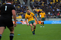 Australia's James O'Connor kicks for goal during the Bledisloe Cup rugby union match between the New Zealand All Blacks and Australia Wallabies at Sky Stadium in Wellington, New Zealand on Sunday, 11 October 2020. Photo: Dave Lintott / lintottphoto.co.nz