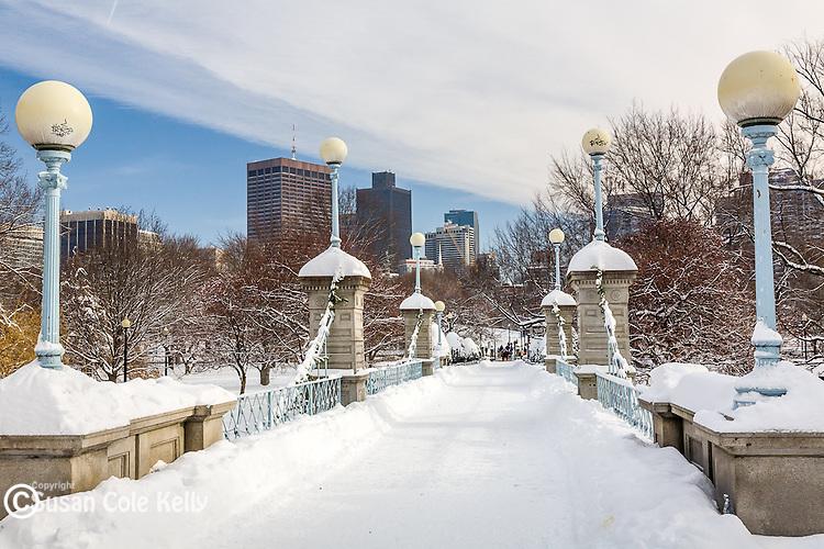 Fresh snow in the Boston Public Garden, Boston, MA