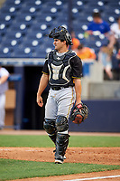 Bradenton Marauders catcher Christian Kelley (27) during the first game of a doubleheader against the Tampa Yankees on April 13, 2017 at George M. Steinbrenner Field in Tampa, Florida.  Bradenton defeated Tampa 4-1.  (Mike Janes/Four Seam Images)