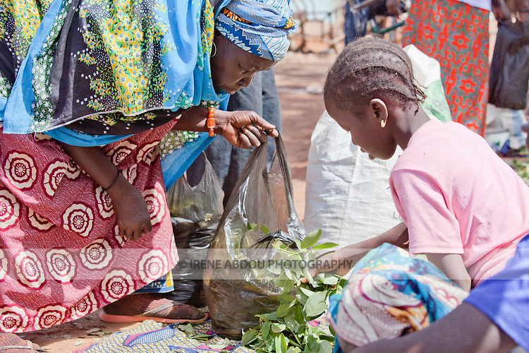 In the town of Djibo in northern Burkina Faso, an elderly Fulani woman pauses in the market to purchase greens for dinner.
