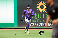 Fort Myers Mighty Mussels outfielder Willie Joe Garry Jr. (24) catches a fly ball during a game against the Clearwater Threshers on July 29, 2021 at BayCare Ballpark in Clearwater, Florida.  (Mike Janes/Four Seam Images)