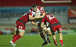 No way through for Ulster lock Johann Muller as Aled Davies and George Earle close in..Celtic League.Scarlets v Ulster.Parc y Scarlets.02.12.12..©Steve Pope
