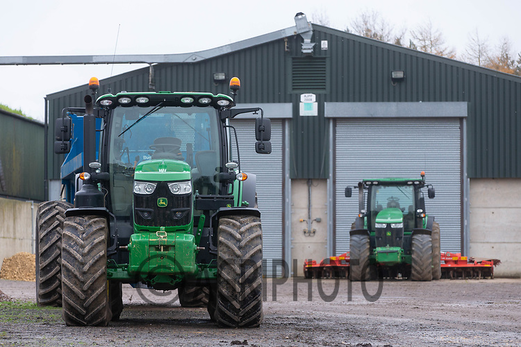 11/12/2020 John Deere tractors parked in a farm yard<br /> ©Tim Scrivener Photographer 07850 303986<br />      ....Covering Agriculture In The UK....