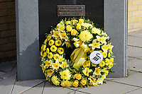 Pictured: The wreath laid by Julian Winter. Tuesday 24 March 2021<br /> Re: Swansea City AFC Chairman Julian Winter has laid a wreath to remember all those who have died of Covid-19, at the club's memorial garden outside the Liberty Stadium, Swansea, Wales, UK.