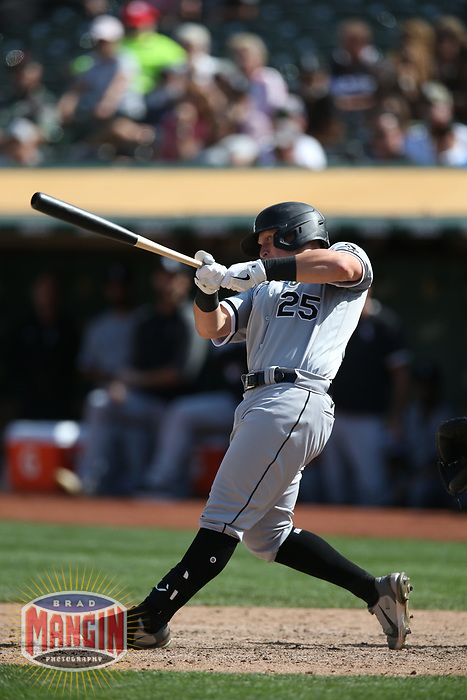 OAKLAND, CA - SEPTEMBER 9:  Andrew Vaughn #25 of the Chicago White Sox bats against the Oakland Athletics during the game at the Oakland Coliseum on Thursday, September 9, 2021 in Oakland, California. (Photo by Brad Mangin)