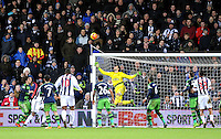 Goalkeeper Lukasz Fabianski of Swansea City makes another save during the Barclays Premier League match between West Bromwich Albion and Swansea City at The Hawthorns on the 2nd of February 2016