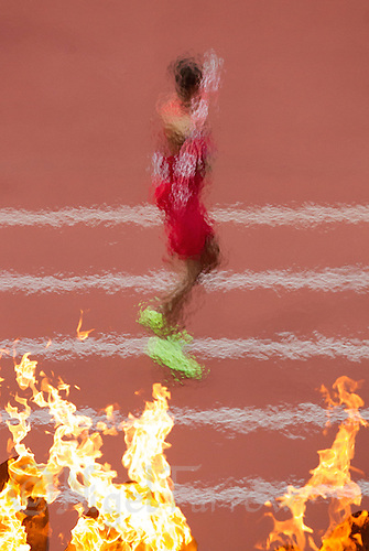 09 AUG 2012 - LONDON, GBR - Ashton Eaton (USA) of the USA  throws during the javelin in the Decathlon at the London 2012 Olympic Games athletics in the Olympic Stadium at the Olympic Park in Stratford, London, Great Britain (PHOTO (C) 2012 NIGEL FARROW)