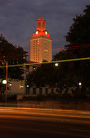 UT Tower illuminates burnt orange signaling a win for the football team